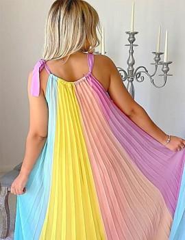 Robe longue plissée - Multi...